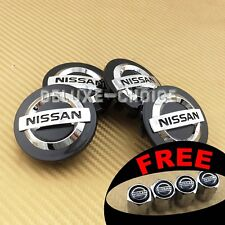 Set of 4 Black finish Chrome logo Car Alloy Rim Wheel Center Hub Cap for 54mm