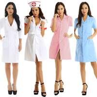 Women's Medical Doctor Nursing Dress Role Play Costume Hospital Uniform Lab Coat