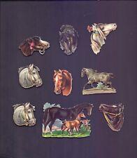 9 Nice Vintage Scraps,Horses largest 80 x 50 mm all scanned (SB 61)