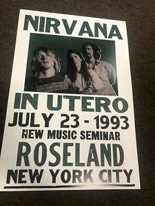 "Nirvana Kurt Cobain 1993 In Utero Roseland New York Cardstock Poster - 12"" x 18"""
