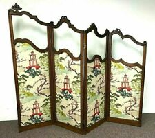 19th C French Room Divider Carved Oak Glass Four Panels Chinoiserie Upholstery