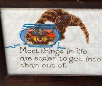 Small Vintage Cross Stitch Sampler Proverb Cat in Goldfish Bowl Framed Whimsical