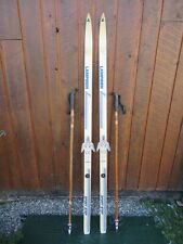 """Ready to Use Cross Country 61"""" LAMPINEN 160 cm Skis WAXLESS Base + Poles"""