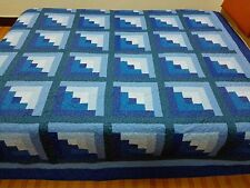 Queen size Machine pieced and quilted log Cabin quilt #J-53Qq