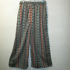 Pants XL 1X 2X Plus Cropped Silky Black Turquoise Tribal Comfortable NWT 900 BB