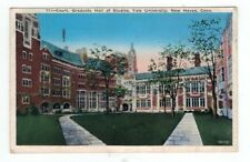 CT New Haven Connecticut 1936 post card Yale Univ Court Grad Hall of Studies