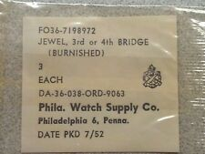 3 NOS ORD Issued Elgin 8/0 3rd Or 4th Bridge Jwls For WW2 Navigation Hack Watch