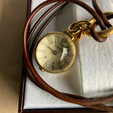 Coach Antique Style Pocket Watch Pendant Necklace Leather String