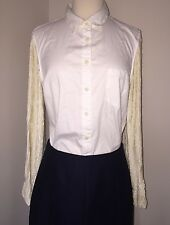 JCREW Collection Sequin Sleeve Shirt $350 38464 Size 12 White SOLDOUT!
