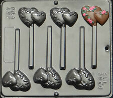 Double Heart with Flowers Lollipop Chocolate Candy Mold Valentine  3046 NEW
