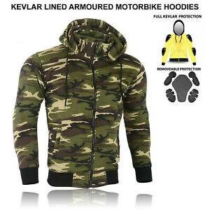 Motorcycle CE Protection Mens Mesh Lined Removable Armor Fleece Hoodie Unisex UK