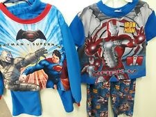 Superheroes Pajamas Lot Boys 4-5 Batman Vs Superman Iron Man