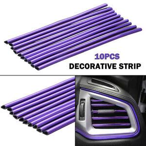10x Purple 20cm Auto Air Conditioner Air Outlet Decor Strip Car Accessories Trim
