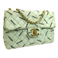 CHANEL Quilted Jumbo Double Chain Shoulder Bag Light Green Canvas AK31935c