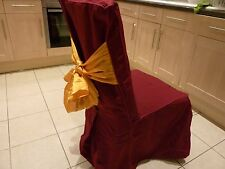 Deep Red Linen Fabric Dining Chair Covers With Gold Sash Bow (160 Available)