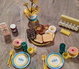Lot Barbie Kitchen Littles BREAKFAST for 2 -Egg Carton Milk Jelly Bacon Pancakes