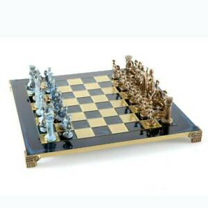 Manopoulos Greek Roman Army Large Chess Set - Blue Copper Pawns - Blue Board