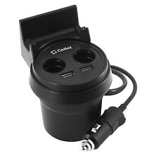 Car Cup Holder Phone Mount & 3.1Amp Car Charger with 2 USB Ports and 2 DC Ports