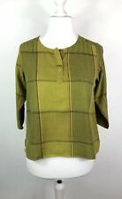 GUDRUN SJODEN Size S Check Blouse 3/4 Sleeves Mustard Yellow Lagenlook Quirky