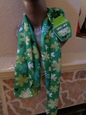 "Saint Patrick's/Patty' ;s Day Women Green Scarf w/Leaf Clovers designs. 11"" x 60""."