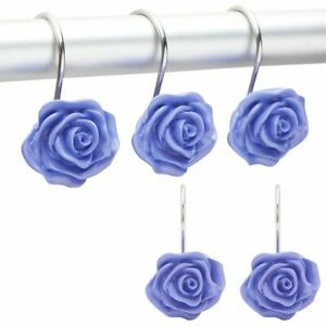 Purple Rose Shower Curtain Hooks, Flower Bathroom Decor (12Pack)