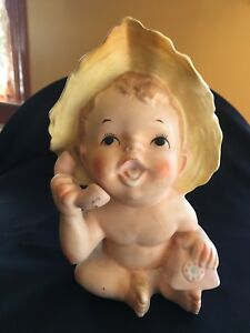 """Vintage Inarco Nursery Decor Planter Baby on Pink Phone E1020 Size 7 1/4"""" Tall"""