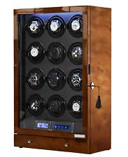 Arcanent 12 + 2 Slot Watch Winder LCD Honey Burlwood Quality Made Ball Bearings