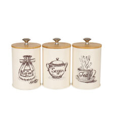 X022S Set of 3 Cream White Metal Food Storage Tin Canister/Jar with Bamboo Lid