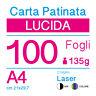 CARTA PATINATA LUCIDA A4 (cm 21x29,7) 135g PER STAMPANTI LASER - 100 FOGLI -