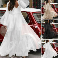 Womens Spring Lace Ruffle Loose Solid Bell Sleeve Party V Neck Long Dress New