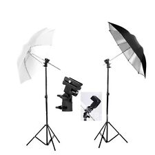 "Photography Studio 33"" Umbrella Flash Speedlite Kit Light Stand Bracket Mount B"
