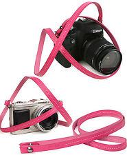 Whole leather camera neck shoulder strap - Pink - Film DSLR RF Leica Digi Cute