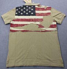 RALPH LAUREN Men KHAKI BEIGE TORN & TATTERED USA AMERICAN FLAG POLO SHIRT NWT  M