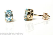 9ct Gold Blue Topaz Oval Studs Earrings Made in UK Gift Boxed