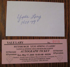VINTAGE YALE LARY AUTO SIGNED 3 x 5 INDEX CARD WITH COA DETROIT LIONS HOF 79
