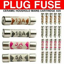 20 x Mixed Ceramic Household Domestic Mains Plug Fuses Top 3A 5A 10A 13Amp