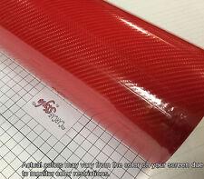 6d Rojo 1520mm (59,8 En) X 2m (78,7 en) De Fibra De Carbono Vinilo Wrap pegatina 5d Actualizado