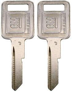 "2 NEW GM Logo OEM IGNITION ""J"" Key Blank Uncut 320470 B46P B46 01154608 58-J"
