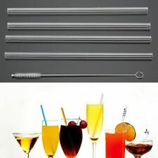 4 Pcs Reusable Straight Glass Tube Drinking Straw Sucker With 1X Cleaning Brush