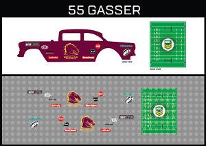 "Hot Wheels(1/64),55 Gasser""Broncos"" Waterslide,Printed White First,Decals"