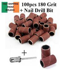 100 Pcs Nail Art Sanding Bands 180 Grit for Nail Drill Machine Free Drill Bit