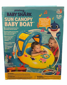 Baby Shark Sun Canopy Baby Boat Float by SwimWays Learn to Swim PinkFong