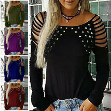 Womens Sexy Cold Shoulder Blouse Tops Ladies Long Sleeve T Shirt Plus Size 8-22