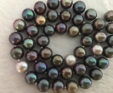 "elegant  10-11mm tahitian round multicolor pearl necklace 18"" 14k"