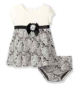 Bonnie Jean Baby Girls Special Ocassion Party Black Ivory Dress 0 3 6 9 Months