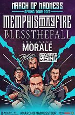"MEMPHIS MAY FIRE ""MARCH MADNESS SPRING TOUR 2017"" CONCERT POSTER-Metalcore Music"