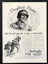 1944 Vintage Print Ad SEALRIGHT Sanitary Paper Containers Illustration Soldier
