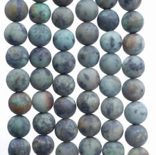 10MM MATTE AFRICAN TURQUOISE GEMSTONE ROUND LOOSE BEADS 15""