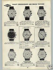 1962 PAPER AD Gallet Chronograph Braille Wrist Watch Calendar Flight Officer