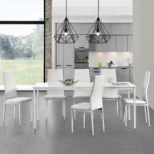 [en.casa]® Esstisch mit 6 Stühlen weiß 160x80cm Küchentisch Esszimmertisch